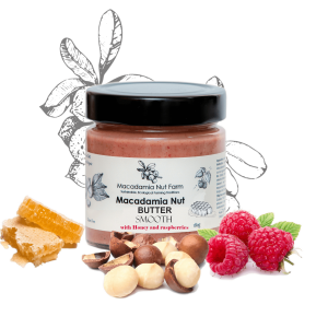MACADAMIA NUT BUTTER SMOOTH OR CRISPY (with honey or stevia & raspberries)