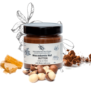 MACADAMIA NUT BUTTER SMOOTH OR CRISPY (with honey or stevia & cocoa)