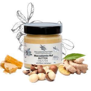 MACADAMIA NUT BUTTER SMOOTH OR CRISPY (with honey or stevia & ginger)